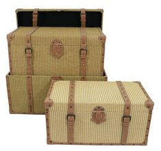 17 Stories Hodgson 3 Piece Fenwick Storage Trunk Set for sale online Decorative Trunks, Decorative Items, Camp Trunks, Storage Trunk, Accent Furniture, 3 Piece, Beige, Ebay, Wood