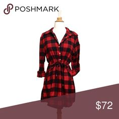 ❄️ Cozy Red Buffalo Plaid Drawstring Shirt Dress An easy to wear, comfortable, shirt dress that won't make you look frumpy thanks to the drawstring waist. Cozy flannel in red buffalo check that's perfect for winter and best of all, pockets! Adorable with leggings and boots when you need to bundle up. Adjust the neckline to your liking with the snaps that come half way down the front. Slight shirt tail hem.   ❌ Sorry. No trades. fairlygirly Dresses Long Sleeve