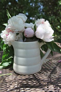 Shabby Chic Antique White French Ironstone Water Pitcher...this one is mine:)