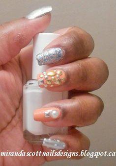 Silver and Peach Nails! #nailart #peach #silver #naillook