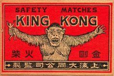 King Kong Matches  King Kong Tändstickor  Japan ca 1935  Collect Matchbox Labels / Samla Tändsticksaskar