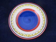 Pier 1 Del Sol Pattern White Salad Plate Orange Yellow Bands Cobalt Blue Center   eBay
