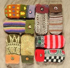 Mittens from recycled sweaters. Love.