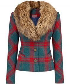 """It's all about having fun with this jacket. From the vibrant check to the plush faux fur collar, it's the air of extravagance that makes this jacket one of our favourites. Approx Length: 58cm Our model is: 5'8"""""""