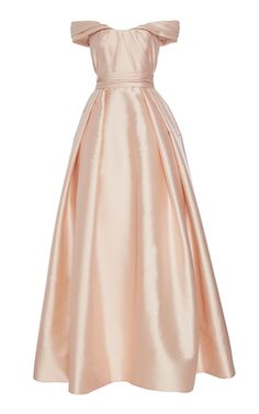 Blush Wedding Gown - Reem Acra Draped Mikado Ball Gown With Off Shoulder Neckline