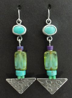 Sterling Silver And Turquoise Cabs With by gailheftimetalsmith $125.