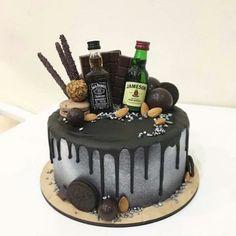 Alcohol Birthday Cake, Alcohol Cake, Birthday Cake For Him, Birthday Cakes For Men, Birthday Cupcakes, Fondant Cakes, Cupcake Cakes, Liquor Cake, Cake For Husband