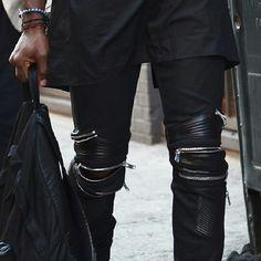 Zipper leather pants