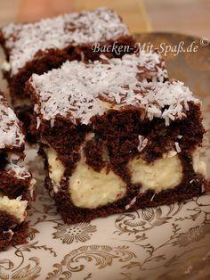 Kakao kuchen mit kokosraspeln