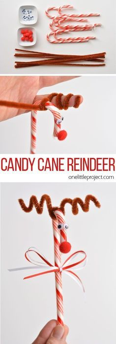 Do you remember making these candy cane reindeer when you were a kid?! They're so cute and SO EASY! What a great holiday craft to do with the kids!