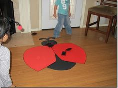 Awesome game/craft ideas for a lady bug party.  This would be a good prop to practice addition with the whole class: put some spots on each wing, add the numbers.