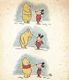 This is so pure. Winnie the Pooh and Mickey mouse get their iconic outfits. Humor Disney, Funny Disney Memes, Funny Memes, Cute Disney Quotes, Disney Amor, Disney Magic, Disney E Dreamworks, Disney Pixar, Walt Disney