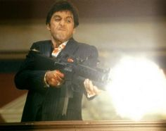 """Scarface, 1983 """"Say hello, to my little friend."""" This is Scarface in one single image. Al Pacino HoooooAh! (yes, I know that's from another movie) The Best Films, Great Films, Iconic Movies, Classic Movies, New Movies, Good Movies, Guess The Movie, Gangster Movies, Movie Lines"""