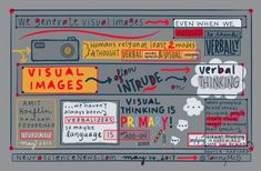 Did you know that visual images often intrude on verbal thinking? Sketchnotes created by Tanny Mcgregor on the power of visual images. Visual Literacy, Sketch Notes, Knowing You, At Least, Doodles, Classroom, Map, Thoughts, Education