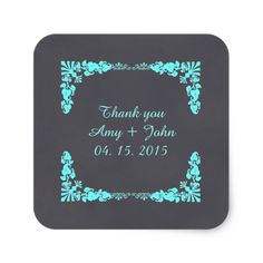 Chalkboard damask favor tags save the date deco3 square sticker