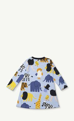 Colorful animals, from elephants to little chicks, dot this cotton jersey dress. This new Tiikoni print dress has a ribbed neckline and a loose, comfortable cut.