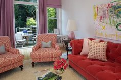 Fun and colourful living room by Robyn Karp Interiors. Tiny Living Rooms, Colourful Living Room, Living Room Sofa, Home And Living, Living Spaces, Family Rooms, Kid Spaces, Living Area, Red Sofa