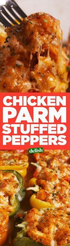 Chicken Parm Stuffed Peppers.  Use fresh chicken breasts, coat with pork rinds instead of bread crumbs.