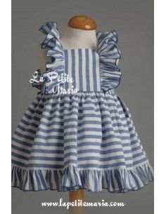 Vestido look marinero rayas azules de Mon Petit Bonbon Girls Frock Design, Kids Frocks Design, Baby Frocks Designs, Baby Dress Design, Baby Girl Frocks, Frocks For Girls, Little Girl Dresses, Kids Dress Wear, Baby Girl Dress Patterns
