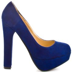 Blue Heels I Love #heels #summer #high_heels #color #love #shoes Lights Out - Navy Suede                      Luichiny