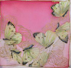 Silk painting tester piece, butterflies