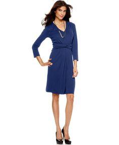 Jones New York Dress, Three Quarter Sleeve V-Neck A-Line