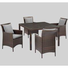 5pc Conduit Outdoor Patio Wicker Rattan Set With Square Table Brown - Modway : Target Outdoor Dining Furniture, Dining Arm Chair, Patio Dining, Modern Furniture, Dining Set, Dining Table Dimensions, Tempered Glass Table Top, Brown Cushions, Aluminum Table