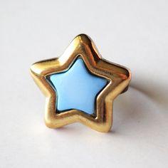 Light Blue Star Button Ring