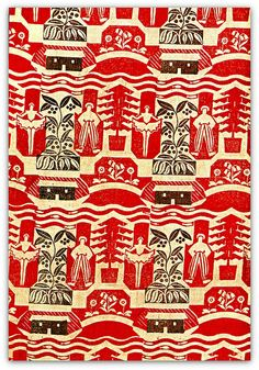1936 woodblock-printed curtain fabric designed and hand-printed on linen by Margaret Calkin James for the schoolroom at 'Hornbeams'.