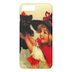 Cute Witch Girl Black Cat iPhone 7 Plus Case - girl gifts special unique diy gift idea