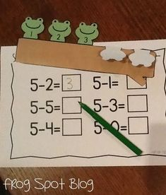 Frog Spot: Subtraction Fun (using frogs on a log for 5, bendy snake for 6, carrot patch, octopus legs for 8)