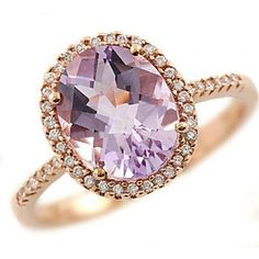 Halo Oval Pink Amethyst & Diamond Cocktail Fashion by JewelryPoint, $435.00