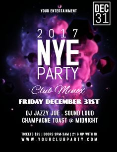new years party flyerposter template