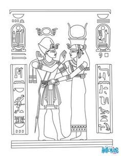 egyptian coloring pages | HORUS AND NEFERTITI deities coloring page ...