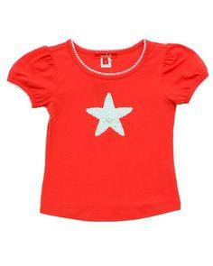 """Red starfish tee """"one kid"""""""