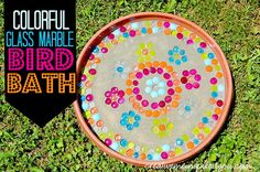 Colorful Marble Bird Bath - creativemeinspiredyou.com