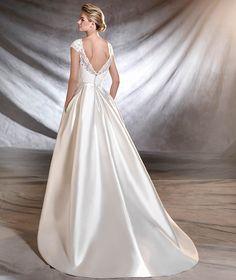 OSASUN - Vestido de noiva de mikado, tule e renda | Pronovias