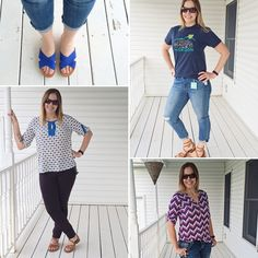 From top left clockwise, my 5 #stitchfix items are: Blue Dolce Vita Monica Suede Criss Cross Slide Sandal $70 Kut from the Kloth Aviva Distressed Boyfriend Jean $88, along with our adoption fundraiser shirt (https://youcaring.com/baby-kellen) Market & Spruce Atena Split Neck Blouse $54 Brown Liverpool Reagan Skinny Pant $88 Pixley Edmond Chevron Print Henley Shirt $54