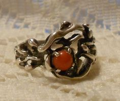 Vintage Sterling Silver with Coral Ring Size by ViksVintageJewelry, $45.00