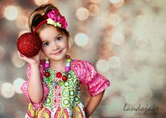 Christmas photos w/ bokeh lights & ornaments! This little girl is so cute too!