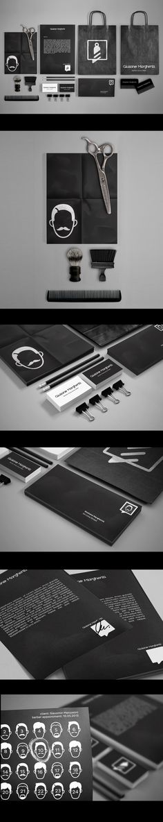 Branding created for an Italian barber - Giuliano Margheriti. Our primary goal was to visually distinguish Giuliano Margheriti from the local barber competition. The ID was designed with elegance and minimalism in mind. Both classic and creative element… Corporate Design, Corporate Branding, Brand Identity Design, Graphic Design Branding, Logo Design, Identity Branding, Brand Packaging, Packaging Design, Grooming Kit