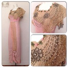 Rare Vintage 1910s Pink Lace Beaded Dress Wedding Gown Victorian XS Edwardian
