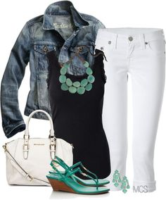 Possibilities - white jeans, black tank, jean overshirt + my green circle necklace or maybe the statement necklace.