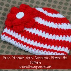 This hat has alternating red and white stripes, and two smaller stripes on the bottom. Not to mention the adorable red flower with a white button! What little preemie girl wouldn't look adorable in this hat?! As always this hat is designed to be folded up a little to get the perfect fit! Make sure to share your finished projects on my Facebook Page!