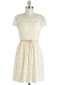 Need I Crochet More? Dress - Cream, Solid, Lace, Belted, Casual, A-line, Mid-length, Cap Sleeves