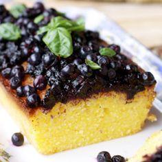 Lemon Polenta Cake with Wild Blueberry Sauce and the Beautful City of Merano, Italy