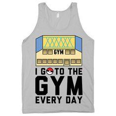 I go to the gym every day. fitness tank. pokemon gym parody. Womens, M – Print Proxy