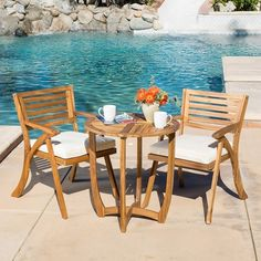 Coronado Outdoor 3-piece Acacia Wood Bistro Set with Cushions by Christopher Knight Home