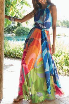 Sleeveless Colorful Maxi Dress