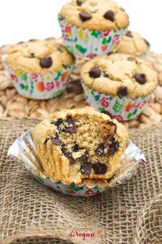 World's Best JUMBO Vanilla Blueberry/Chocolate Chip Muffins Ever (8 ingredients, GF, Oil-Free!)